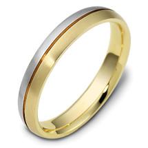 4mm Wide Designer Two-Tone 14 Karat Gold Wedding Band Ring