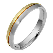 4mm Designer Two-Tone 14 Karat Gold Wedding Band Ring