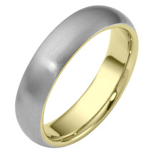 Traditional 6mm Comfort Fit 14 Karat Two-Tone Gold Wedding Band Ring