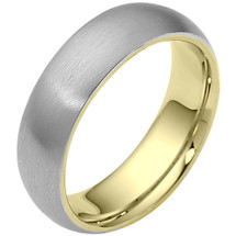 Traditional 6.5mm Comfort Fit 14 Karat Two-Tone Gold Wedding Band Ring