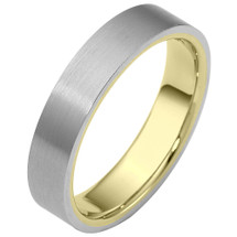 Traditional 5mm Flat Comfort Fit 14 Karat Two-Tone Gold Wedding Band Ring