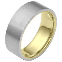 Traditional 8mm Flat Comfort Fit 14 Karat Two-Tone Gold Wedding Band Ring
