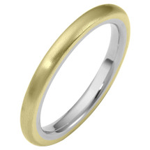 Traditional 3mm Comfort Fit 14 Karat Two-Tone Gold Wedding Band Ring