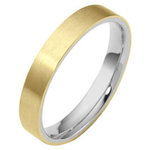 Traditional 4mm Flat Comfort Fit 14 Karat Two-Tone Gold Wedding Band Ring