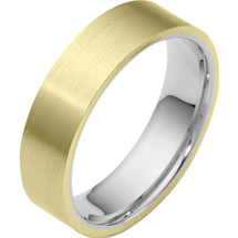 Traditional 6mm Flat Comfort Fit Two-Tone 14 Karat Gold Wedding Band Ring