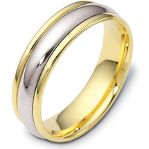 Traditional Style 14 Karat Two-Tone Gold 6mm Comfort Fit Wedding Band Ring