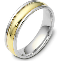 Traditional Style Two-Tone 14 Karat Gold 6mm Comfort Fit Wedding Band Ring