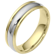 Traditional Style 6mm 14 Karat Two-Tone Gold Comfort Fit Wedding Band Ring