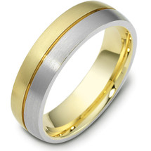6mm Comfort Fit Designer Two-Tone 14 Karat Gold Wedding Band Ring