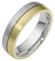 6mm Comfort Fit Two-Tone 14 Karat Gold Wedding Band Ring
