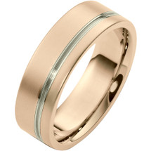 Stylish 7mm 14 Karat White & Rose Gold Wedding Band Ring