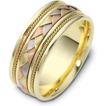 9mm Wide Woven Style Tri-Color 14 Karat Gold Wedding Band Ring