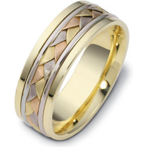 7mm Wide Woven Style Tri-Color 14 Karat Gold Wedding Band Ring