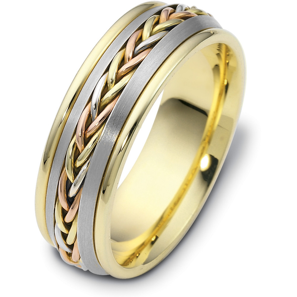 It is a picture of 42.42mm Wide Woven Style Tri-Color 42 Karat Gold Wedding Band Ring
