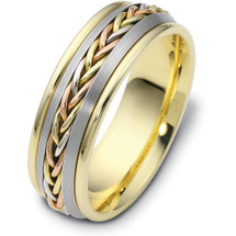 7.5mm Wide Woven Style Tri-Color 14 Karat Gold Wedding Band Ring