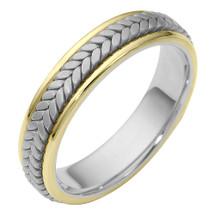 5.5mm Stylish Woven Two-Tone 14 Karat Gold Wedding Band Ring