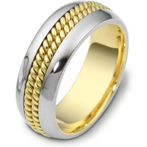 14 Karat Gold 8mm Woven Style Two-Tone Gold Wedding Band Ring