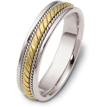 14 Karat Two-Tone Gold Woven Style 5mm Comfort Fit Wedding Band Ring