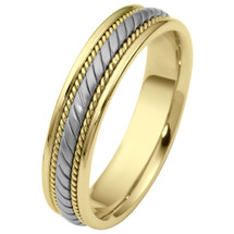 5mm 14 Karat Two-Tone Gold Woven Style Comfort Fit Wedding Band Ring