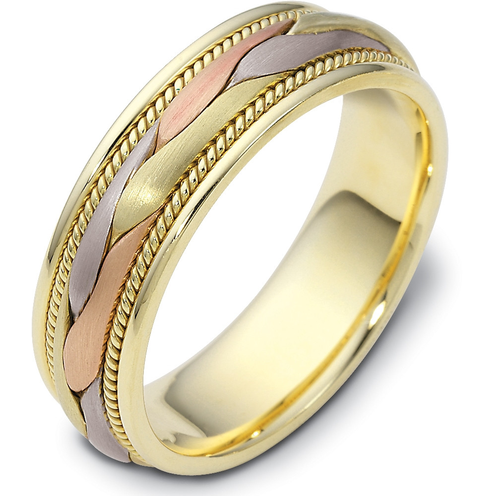 It is just a picture of 42.42mm Wide Woven Style Tri-Color 42 Karat Gold Wedding Band Ring