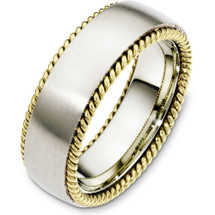 14 Karat Two-Tone Gold Woven Style 7.5mm Wedding Band Ring