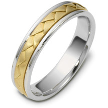5mm Wide Woven Style Two-Tone 14 Karat Gold Comfort Fit Wedding Band Ring