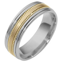 7mm 14 Karat Two-Tone Gold Comfort Fit Rope Style Wedding Band Ring