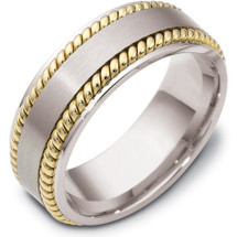 Rope Style 14 Karat Two-Tone Gold 8mm Comfort Fit Wedding Band Ring