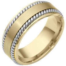 8mm Rope Style 14 Karat Two-Tone Gold Comfort Fit Wedding Band Ring