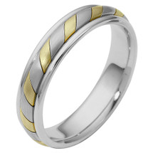 5mm 14 Karat Comfort Fit Two-Tone Gold Wedding Band Ring