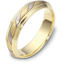 5.5mm Comfort Fit 14 Karat Two-Tone Gold Wedding Band Ring