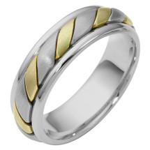 6.5mm 14 Karat Two-Tone Gold Comfort Fit Wedding Band Ring