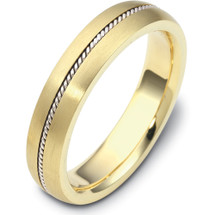 5mm Wide Designer Woven Style 14 Karat Two-Tone Gold Wedding Band Ring