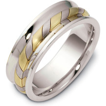 7.5mm Woven Style 14 Karat Two-Tone Gold Comfort Fit Wedding Band Ring