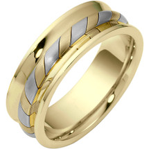 7.5mm Woven Style Two-Tone 14 Karat Gold Comfort Fit Wedding Band Ring