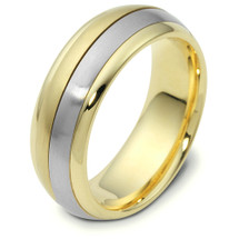 14 Karat 7mm Two-Tone Gold Designer SPINNING Wedding Band Ring