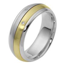 7mm Diamond Two-Tone 14 Karat Gold Comfort Fit SPINNING Wedding Band Ring