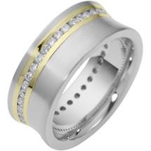 Designer 14 Karat Two-Tone Gold Unique Diamond Eternity Band Ring