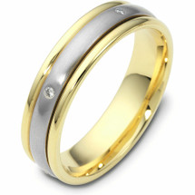 Unique Two-Tone 14 Karat Gold SPINNING Diamond Wedding Band Ring