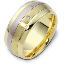 Designer Two-Tone 14 Karat Gold Diamond SPINNING Wedding Band Ring