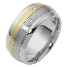 9mm Two-Tone 14 Karat Gold Diamond SPINNING Comfort Fit Wedding Band Ring