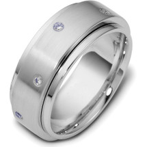 14 Karat Designer White Gold SPINNING Diamond Wedding Band Ring