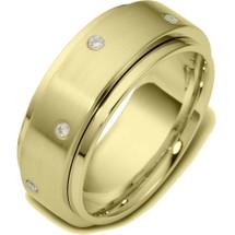 14 Karat Designer Yellow Gold SPINNING Diamond Wedding Band Ring