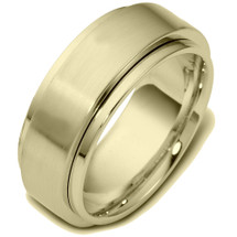 14 Karat 9mm Yellow Gold Designer SPINNING Wedding Band Ring