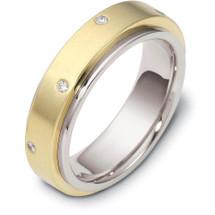 Designer Two-Tone 14 Karat Gold SPINNING Diamond Eternity Band Ring