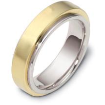 14 Karat 6mm Two-Tone Gold Designer SPINNING Wedding Band Ring