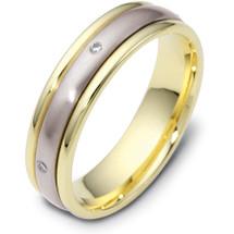 Designer Diamond SPINNING 14 Karat Two-Tone Gold Wedding Band Ring