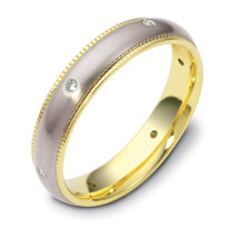 Designer Two-Tone 14 Karat Gold Milgrain SPINNING Diamond Band Ring