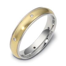 Designer Milgrain 14 Karat Two-Tone Gold SPINNING Diamond Band Ring