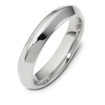 4mm Wide 14 Karat White Gold Knife Edge Style Comfort Fit Wedding Band Ring